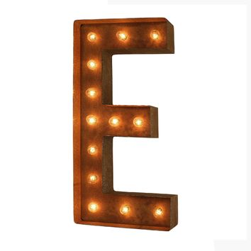 "36"" Letter E Lighted Vintage Marquee Letters (Modern Font/Rustic)"