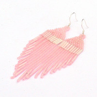 Pastel Pink Earrings. Dangle Earrings. Fringe Long Earrings. Beadwork.