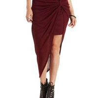 Burgundy Ribbed & Knotted Asymmetrical Skirt by Charlotte Russe