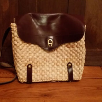 Vintage Etienne Aigner Leather and Straw Woven Basket Style Purse