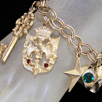 Vintage Gold Tone Charm Bracelet,  Key Heart Horse Shoe Star Charms, Lucky Charms Rhinestone Highlights, Mid Century Charms 617