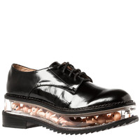 The Jagger Shoe in Black Leather and Baby Dolls