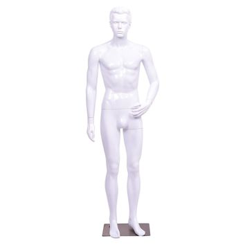 Male Mannequin Full Body Dress Form Display Plastic High Gloss White w/ Base New