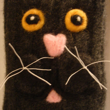 Up Cycled Wool Sweater Plush Kitty Cat Needle Felted