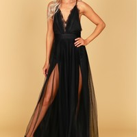 Lace Mesh Gown Black