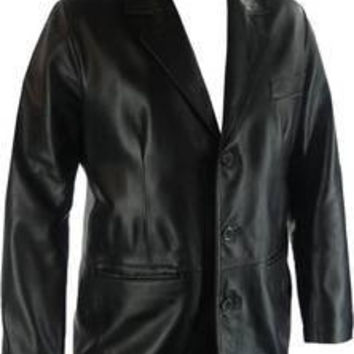 Black handmade pure leather coat for office use with quality button, men's leather coat, black leather coat