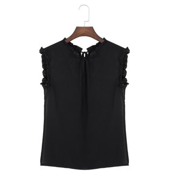 Trendy Ruffle Collar Lace-up Perspective T-shirt for Women