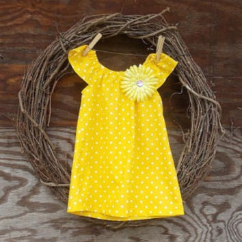 Girls Easter Dress, Yellow Dot Dress, Peasant dress, Baby dress, 6, 12, 18, butterfly sleeves, 24 mon, 2 T, 3 T, 4 T, 5, 6, 7, 8, 10