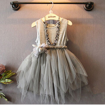 Cute hot fashionable sleeves baby girl dress new fashion baby girl clothes kids dress Mesh