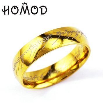HOMOD 2017 Dropshipping Midi Ring Tungsten One Ring of Power Gold the Lord of Ring Lovers Women and Men Fashion Jewelry