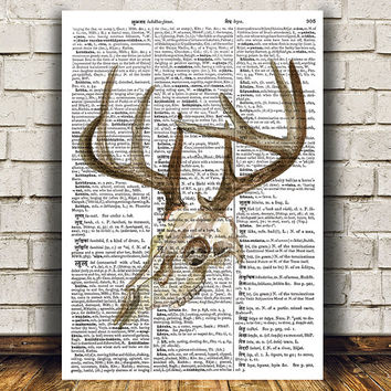 Deer skull decor Dictionary print Anatomy poster Watercolor print RTA1390