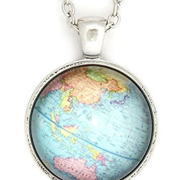 Planet Earth Globe Necklace Silver Tone NU68 World Map Atlas Pendant Fashion Jewelry