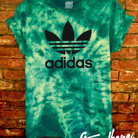 Stag & Bone Authentic Adidas Originals Teal/Green Tie Dye Tee