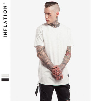 Latest t shirts Side Zipper Men's Extended Tees Organic Bamboo Tee Shirts Urban Streetwear T shirts