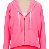pink high-low zip front hoodie