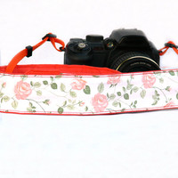 Floral Camera Strap. Roses Camera Strap. dSLR Camera Strap. Women accessories