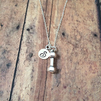 Dumbbell initial necklace - weightlifter necklace, fitness jewelry, bodybuilder necklace, workout jewelry, silver barbell necklace