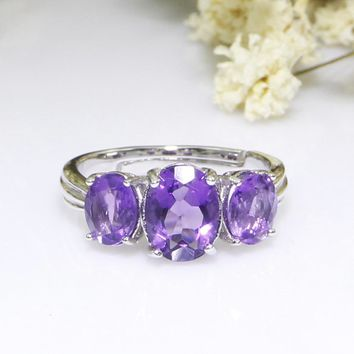 8*6mm Natural Amethyst 3 Stone 925 Sterling Silver Promise Anniversary Engagement Ring