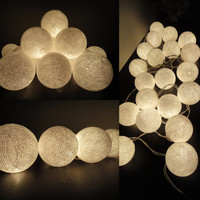 SALE 4 Sets of 20 White Color Handmade Cotton Balls Fairy String Lights Party Patio Wedding Floor Table or Hanging Gift Home Decoration