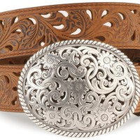 Tony Lama Floral Cutout Leather Belt - Sheplers