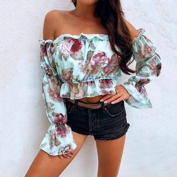 Long Sleeve Boho Flower Print Tank Tops Elegant Off Shoulder Crop Top for Women Clothing Summer Streetwear Tees Camis