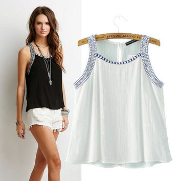 Women's Fashion Embroidery Sleeveless Vest Tops T-shirts [6047548993]