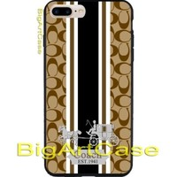 2018Coach Logo Fashion Brown Stripes White iPhone 6s/6s+7/7+8/8+,X and Samsung