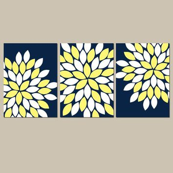 Navy Yellow Flower Wall Art, Flower Bedroom Wall Decor Canvas or Prints Navy Yellow BATHROOM Decor, Set of 3, Navy Yellow Wall Decor