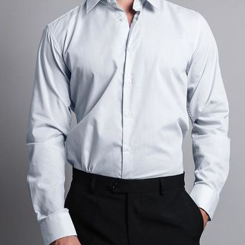 Men's Slim Fit Solid Color Dress Shirt (White)