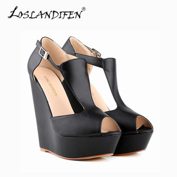 Women Sandals 2015 Open Toe Shoes Women Platform Sandals Cover Heel Wedge Sandals Casual Zip High Heel Sandals Women 391-1MA