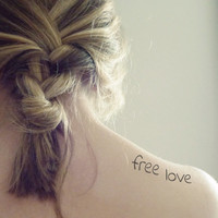 InknArt Temporary Tattoo - 4pcs FREE LOVE wrist quote tattoo body sticker fake tattoo wedding tattoo small tattoo