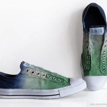 Ombr¨¦ dip dye Converse, fern green, navy blue, slip-on sneakers, tie dye, transformed