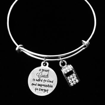 A Great Coach Is Hard to Find and Impossible to Forget Crystal Coach Whistle Adjustable Charm Bracelet Silver Expandable Bangle One Size Fits All Gift School Sports Coach Gift