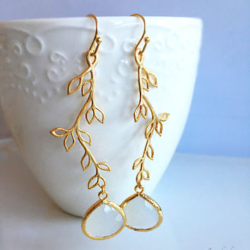Long Leaf Earrings, Vine, Bridal, Gold, White, Wedding, Dangling, Twine Jewelry, Twig, Nature, Everyday Work Jewellery, Birthstone Gift