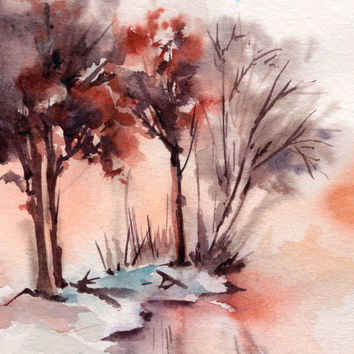 Winter Landscape Original Watercolor Painting, Landscape Watercolour Art, Modern Art