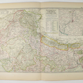 Vintage India Map 1899 Antique Map Northern India, Nepal Map Bhutan Kashmir Map Pakistan, Housewarming Gift for Couple, India Gift Art Map