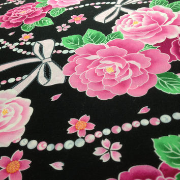 Women's yukata ( summer cotton kimono ) : made to order ,  pink roses , pearls and ribbons pattern
