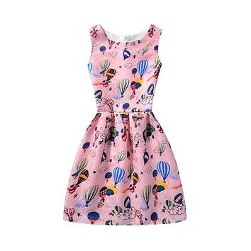 Children's Dresses Summer Luxurious balloon/butterfly print baby girl Dress sleeveless Girls princess A-Line Dresses
