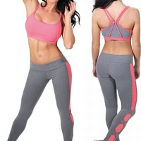 Brazilian Activewear-Sexy Workout Clothes Bia Brazil Sports Bra BT3332 Legging LE2854 Jersey Coral Set