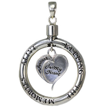 Sterling Silver Handmade Keeping The Memories Alive Circle and Dangling Heart Pendant