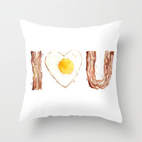 Bacon and Egg LOVE Throw Pillow by Olechka