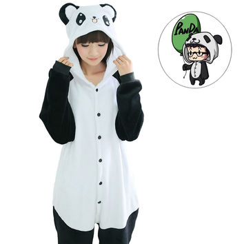 Cute Kigurumi Pyjamas Women Panda Zebra Cat Tiger Dog Onesuits for adults sleep lounge pajamas sleepwear Flannel Animal pajamas