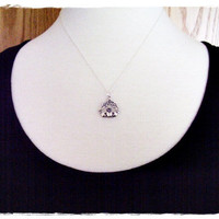 Tiny Claddagh Charm Necklace in Sterling Silver with a Delicate 18 Inch Sterling Silver Cable Chain