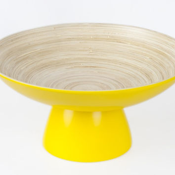 Coiled bamboo round high-footed serving bowls, yellow