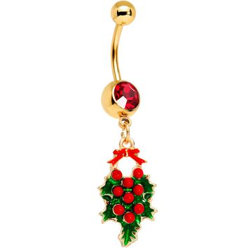 Red Gem Gold Tone Holiday Holly Wreath Dangle Belly Ring