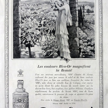 Eau de Cologne 4711 vintage advertising, original print art deco advertisement from French magazine 1927, retro perfume poster ad