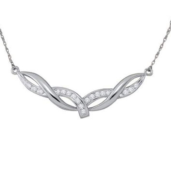 Roun Diamond Ladies Fashion Necklace in 10k White Gold 0.33 ctw