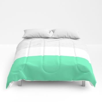 Marble White Mint Comforters by ARTbyJWP