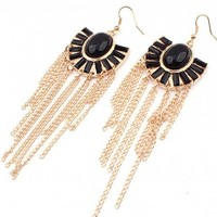 *Free Shipping* Black Tssels Long Earrings@11032372 from clothingloves