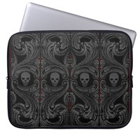 Goth Gray Ornament with Skull Computer Sleeve